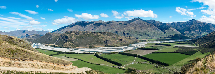 A view of the Matukituki River Valley from a nearby mountain near Wanaka, on the South Island of New Zealand