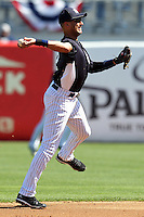 New York Yankees shortstop Derek Jeter #2 throws to first on the run during a scrimmage against the USF Bulls at Steinbrenner Field on March 2, 2012 in Tampa, Florida.  New York defeated South Florida 11-0.  (Mike Janes/Four Seam Images)