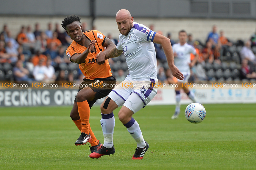 Shaquile Coulthirst of Barnet and Scott Cuthbert of Luton Town tackle during Barnet vs Luton Town, Sky Bet EFL League 2 Football at the Hive Stadium on 12th August 2017
