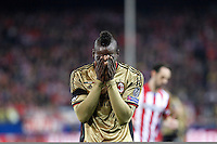 Milan´s Balotelli regrets missing a goal chance during 16th Champions League soccer match at Vicente Calderon stadium in Madrid, Spain. January 06, 2014. (ALTERPHOTOS/Victor Blanco)