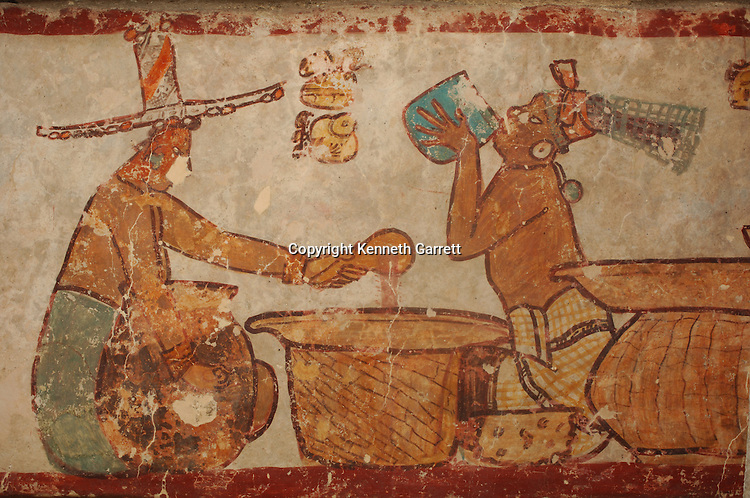 Maya Rise and Fall, detail of mural, Edificio 1 Acropolis Norte, Calakmul, Campeche, Mexico, Pre Classic Stucco Mural 400--200BC, painting/murals from Classic period--500-600 AD