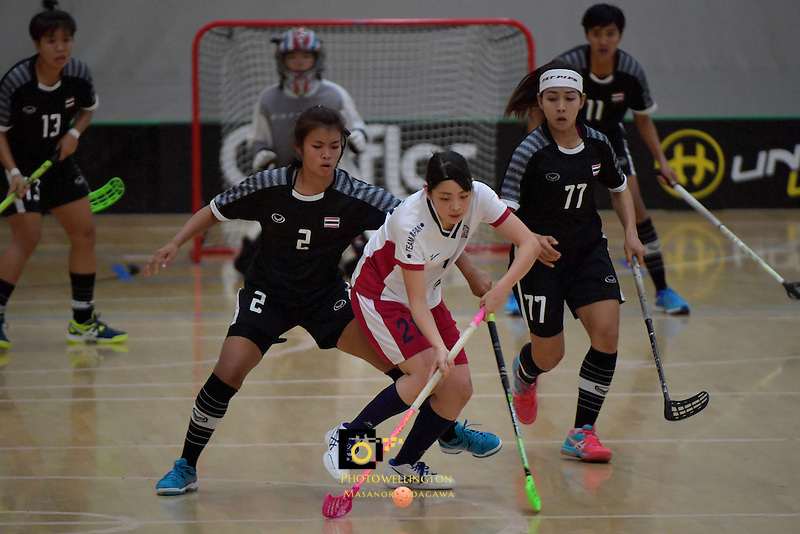 Japan's Shiho Morinaga in action during the World Floorball Championships 2017 Qualification for Asia Oceania Region - Japan v Thailand at ASB Sports Centre , Wellington, New Zealand on Saturday 4 February 2017.<br /> Photo by Masanori Udagawa<br /> www.photowellington.photoshelter.com.