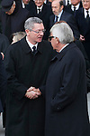 Alberto Ruiz Gallardon and former President Felipe Gonzalez leave the state funeral for former Spanish prime minister Adolfo Suarez at the Almudena Cathedral in Madrid, Spain. March 31, 2014. (ALTERPHOTOS/Victor Blanco)