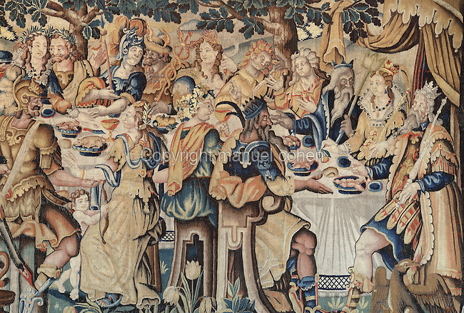 Tapestry depicting a royal feast, from Brussels or Flanders, 16th century, in the royal lodge of the Chateau de Loches, a medieval castle in the Loire Valley consisting of the old collegiate church of St Ours, royal lodge and keep, at Loches, Indre-et-Loire, Centre, France. The chateau was built in the 9th century and the keep in 1013 by Foulques Nerra, Count of Anjou. It is listed as a historic monument. Picture by Manuel Cohen