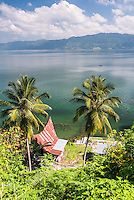 Batak Houses at Lake Toba (Danau Toba), the largest volcanic lake in the world, North Sumatra, Indonesia