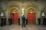 © Joel Goodman - 07973 332324. 05/01/2018. Manchester, UK. A police honour guard lines the entrance to the Great Hall . Police officers and railway workers who came to the aid of victims in the wake of the terrorist attack at an Ariana Grande concert at the Manchester Arena in May 2017 are honoured at a commendation ceremony at the Great Hall at Manchester Town Hall. Amongst those honoured are officers from British Transport Police and Northern Rail staff . Photo credit : Joel Goodman