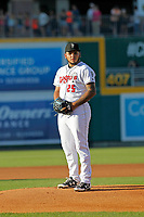 Lansing Lugnuts pitcher Maximo Castillo (25) on the mound during a game against the Dayton Dragons at Cooley Law School Stadium on August 10, 2018 in Lansing, Michigan. Lansing defeated Dayton 11-4.  (Robert Gurganus/Four Seam Images)