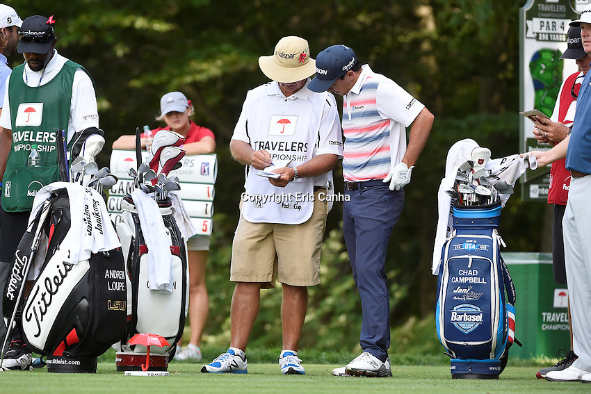 August 5, 2016: Jon Curran studies the 15th hole with his caddy during day two of the PGA Travelers Championship held at TPC River Highlands in Cromwell CT. Eric Canha/CSM
