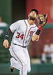 25 August 2016: Washington Nationals outfielder Bryce Harper pulls in a shallow fly ball for the third out of the 3rd inning against the Baltimore Orioles at Nationals Park in Washington, DC. The Nationals blanked the Orioles 4-0 to salvage one game of their 4-game home and away series. Mandatory Credit: Ed Wolfstein Photo *** RAW (NEF) Image File Available ***