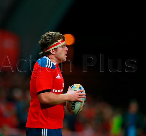 05.10.2013 Limerick, Ireland.  Mike Sherry (Munster) prepares to put the ball in to a lineout during the RaboDirect Pro 12 game between Munster and Leinster from Thomond Park.