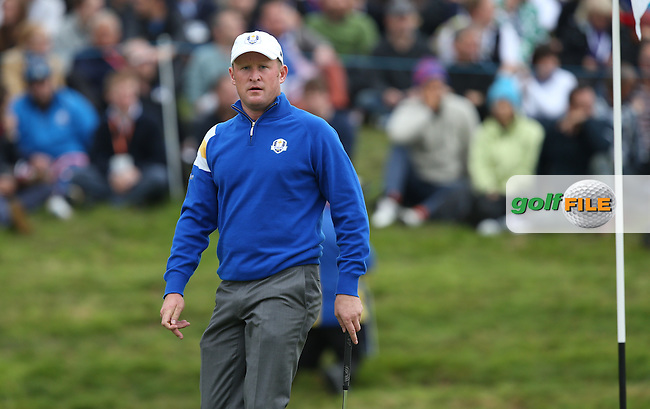 Jamie Donaldson (EUR) during Sunday's Singles at the 2014 Ryder Cup from Gleneagles, Perthshire, Scotland. Picture:  David Lloyd / www.golffile.ie