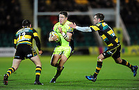 Sam James of Sale Sharks takes on the Northampton Saints defence. Aviva Premiership match, between Northampton Saints and Sale Sharks on December 23, 2016 at Franklin's Gardens in Northampton, England. Photo by: Patrick Khachfe / JMP