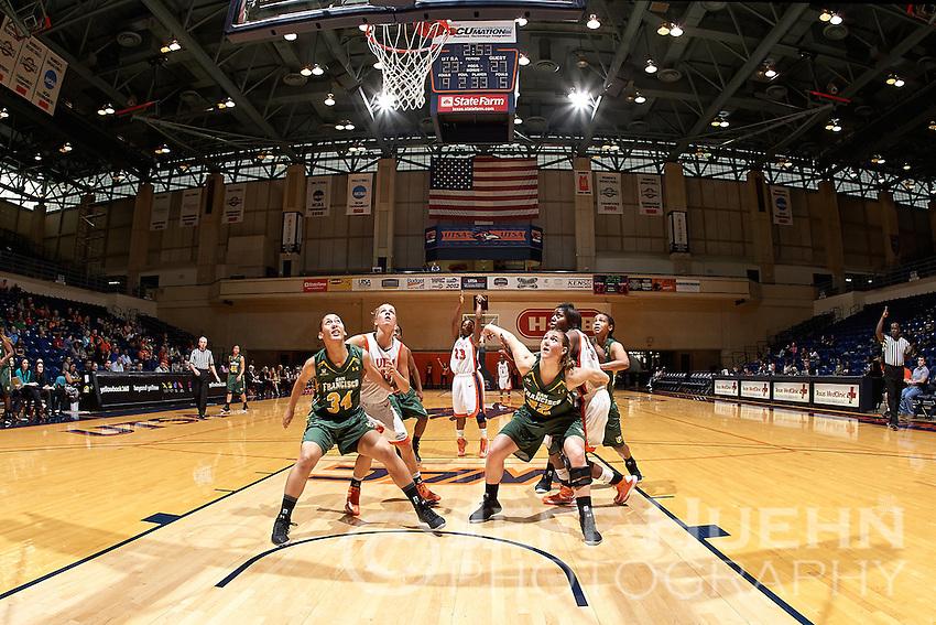 SAN ANTONIO, TX - DECEMBER 2, 2012: The University of San Francisco Lady Dons versus the University of Texas at San Antonio Roadrunners Women's Basketball at the UTSA Convocation Center. (Photo by Jeff Huehn)