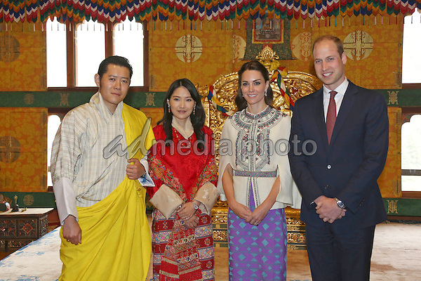 14 April 2016 - Bhutan, India - Prince William, Duke of Cambridge and Kate, Catherine, Duchess of Cambridge with King Jigme Khesar Namgyel Wangchuck and Queen Jetsun Pema during the first day of a two visit of the British Royal Couple to Bhutan. Photo Credit: PPE/face to face/AdMedia