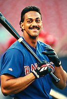 Juan Gonzalez of the Texas Rangers at Anaheim Stadium in Anaheim,California during the 1996 season. (Larry Goren/Four Seam Images)
