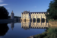 castle, Loire Valley, France, Chenonceau, Loire Castle Region, Indre-et-Loire, Europe, Reflection of 16th century Chateau de Chenonceau in the Cher River.
