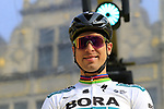 Slovakian National Champion Peter Sagan (SVK) Bora-Hansgrohe at the team presentation in Antwerp before the start of the 2019 Ronde Van Vlaanderen 270km from Antwerp to Oudenaarde, Belgium. 7th April 2019.<br /> Picture: Eoin Clarke | Cyclefile<br /> <br /> All photos usage must carry mandatory copyright credit (&copy; Cyclefile | Eoin Clarke)