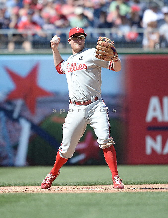 Philadelphia Phillies Cody Asche (25) during a game against the Washington Nationals on April 18, 2015 at Nationals Park in Washington, DC. The Phillies beat the Nationals 5-3.