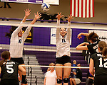 SIOUX FALLS, SD - SEPTEMBER 23: Samantha Lovell #17 and Kate Hart #11 from University of Sioux Falls try for a block on Alex Opperman #16 from Wayne State Tuesday night at the Stewart Center.  (Photo by Dave Eggen/Inertia)