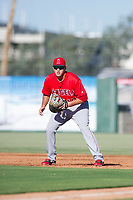 AZL Angels first baseman Dalton Blumenfeld (12) on defense during a game against the AZL Indians on August 7, 2017 at Tempe Diablo Stadium in Tempe, Arizona. AZL Indians defeated the AZL Angels 5-3. (Zachary Lucy/Four Seam Images)