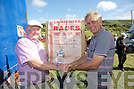 In appreciation of 50 years of service to the Cahersiveen Races Liam Musgrave on the right presents William O'Driscoll with a Crystal memento in grateful appreciation from the Cahersiveen Race Committee.
