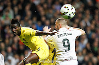 Real Madrid's French forward Karim Benzema and Villareal´s E. Bailly
