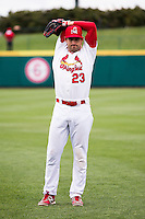Jake Lemmerman #23 of the Springfield Cardinals stretches prior to a game against the Tulsa Drillers at Hammons Field on May 4, 2013 in Springfield, Missouri. (David Welker/Four Seam Images)