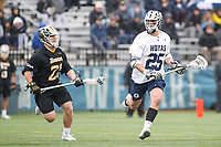 Washington, DC - February 23, 2019: Georgetown Hoyas Jack Elders (25) looks to pass the ball during game between Towson and Georgetown at  Cooper Field in Washington, DC.   (Photo by Elliott Brown/Media Images International)