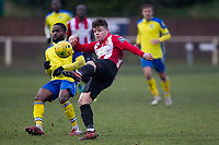 Jay Porter of AFC Honrchurch clears the defensive line during AFC Hornchurch vs Haringey Borough, Bostik League Division 1 North Football at Hornchurch Stadium on 10th February 2018