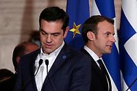 Alexis Tsipras e Emmanuel Macron<br /> Roma 10/01/2018. 4° Vertice dei paesi del sud dell'Unione Europea<br /> Rome January 10th 2018. 4th Summit of the southern EU Countries<br /> Foto Samantha Zucchi Insidefoto