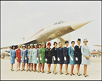 BNPS.co.uk (01202 558833)<br /> Pic DominicWinter/BNPS<br /> <br /> ***Please use full byline***<br /> <br /> Concorde flight attendants. <br /> <br /> The supersonic archive amassed by legendary Concorde test pilot Brian Trubshaw during his flying career is being sold by his family.<br /> <br /> The collection made by the late airman who was the first to fly the famous turbo-jet in Britain in 1969, includes all his log books covering his 30 years service.<br /> <br /> He went on to put Concorde through its paces, criss-crossing the globe at twice the speed of sound before the plane entered commercial service six years later.<br /> <br /> The archive is being sold by Dominic Winter Auctioneers, Glocs. on November 7th.