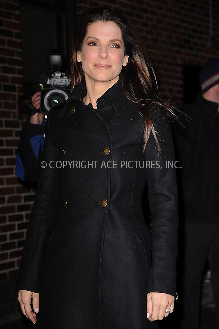 WWW.ACEPIXS.COM . . . . . ....February 8 2010, New York City....Actress Sandra Bullock made an appearance on the 'Late Show With David Letterman' at the Ed Sullivan Theater on February 8, 2010 in New York City.....Please byline: KRISTIN CALLAHAN - ACEPIXS.COM.. . . . . . ..Ace Pictures, Inc:  ..(212) 243-8787 or (646) 679 0430..e-mail: picturedesk@acepixs.com..web: http://www.acepixs.com