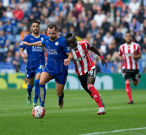 03.04.2016. King Power Stadium, Leicester, England. Barclays Premier League. Leicester versus Southampton.  Southampton striker Sadio Mane pushes his shoulder in to Leicester City midfielder Danny Drinkwater to gain possession of the ball.