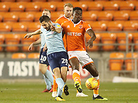 Blackpool's Joe Dodoo and Accrington Stanley's Seamus Conneely<br /> <br /> Photographer Rachel Holborn/CameraSport<br /> <br /> The EFL Checkatrade Trophy Group C - Blackpool v Accrington Stanley - Tuesday 13th November 2018 - Bloomfield Road - Blackpool<br />  <br /> World Copyright © 2018 CameraSport. All rights reserved. 43 Linden Ave. Countesthorpe. Leicester. England. LE8 5PG - Tel: +44 (0) 116 277 4147 - admin@camerasport.com - www.camerasport.com