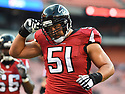 CLEVELAND, OH - AUGUST 18, 2016: Center Alex Mack #51 of the Atlanta Falcons runs onto the field prior to a preseason game on August 18, 2016 at FirstEnergy Stadium in Cleveland, Ohio. Atlanta won 24-13. (Photo by: 2016 Nick Cammett/Diamond Images) *** Local Caption *** Alex Mack