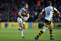 Nick Evans of Harlequins looks to pass the ball. Aviva Premiership match, between Harlequins and Wasps on April 28, 2017 at the Twickenham Stoop in London, England. Photo by: Patrick Khachfe / JMP