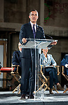 Los Angeles Mayor EricGarcetti speaking at the press conference for The Academy Museum of Motion Pictures.