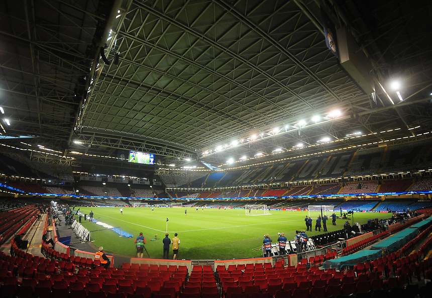 A general view of the Principality Stadium during Juventus' training session<br /> <br /> Photographer Kevin Barnes/CameraSport<br /> <br /> UEFA Champions League Final - Training session - Juventus v Real Madrid - Friday 2nd June 2017 - Principality Stadium - Cardiff<br />  <br /> World Copyright &copy; 2017 CameraSport. All rights reserved. 43 Linden Ave. Countesthorpe. Leicester. England. LE8 5PG - Tel: +44 (0) 116 277 4147 - admin@camerasport.com - www.camerasport.com