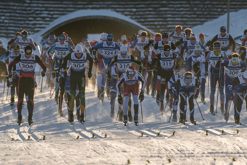 The start of the Men's Junior 10K Classic during the 2018 U.S. National Cross Country Ski Championships at Kincaid Park in Anchorage.