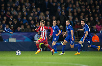 Antoine Griezmann of Club Atletico de Madrid heads away from a group of Leicester players during the UEFA Champions League QF 2nd Leg match between Leicester City and Atletico Madrid at the King Power Stadium, Leicester, England on 18 April 2017. Photo by Andy Rowland.