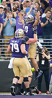 Dante Pettis celebrates his first touchdown.
