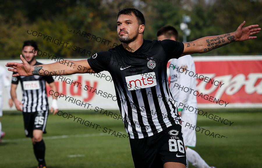 Fudbal Kup Srbije season 2016-2017<br /> Zarkovo v Partizan<br /> Valeri Bozhinov (Bojinov) (C) celebrates scoring the goal<br /> Beograd, 25.10.2016.<br /> foto: Srdjan Stevanovic/Starsportphoto&copy;