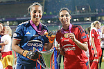 Olympique Lyonnais' Sarah Bouhaddi (l) and Louisa Necib celebrate the victory in the UEFA Women's Champions League 2015/2016 Final match.May 26,2016. (ALTERPHOTOS/Acero)