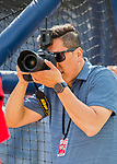 28 February 2017: Washington Nationals photographer Paul Kim in action during the Spring Training inaugural game against the Houston Astros at the Ballpark of the Palm Beaches in West Palm Beach, Florida. The Nationals defeated the Astros 4-3 in Grapefruit League play. Mandatory Credit: Ed Wolfstein Photo *** RAW (NEF) Image File Available ***