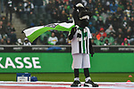 06.10.2019, Borussia-Park - Stadion, Moenchengladbach, GER, DFL, 1. BL, Borussia Moenchengladbach vs. FC Augsburg, DFL regulations prohibit any use of photographs as image sequences and/or quasi-video<br /> <br /> im Bild Borussia- Maskottchen Feature / Symbol / Symbolfoto / charakteristisch / Detail <br /> <br /> Foto © nordphoto/Mauelshagen