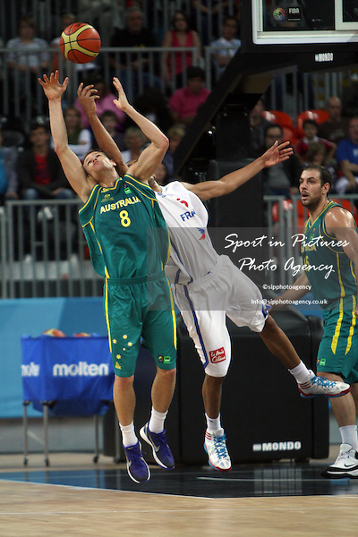Nicolas Batum (France) and Brad Newley (Australia) in action. France v Australia. The London International Basketball Invitational. London Prepares for Olympics 2012. Basketball Arena, Olympic Park. London. 17/08/2011. MANDATORY Credit Sportinpictures/Paul Chesterton - NO UNAUTHORISED USE - 07837 394578.