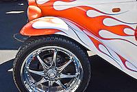 Orange White Flamed Painted Golf Cart, Chrome Wheels, Custom, Classic, Unique,