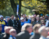 26.09.2014. Gleneagles, Auchterarder, Perthshire, Scotland.  The Ryder Cup.  Rory McIlroy (EUR) on the 11th tee during the Friday Fourballs.