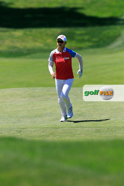 Na Yeon Choi (KOR) runs up the hill to the 9th green during Saturday's Round 3 of the 2015 KPMG Women's PGA Championship held at Westchester Country Club, Harrison, New York, USA. 6/13/2015.<br /> Picture &copy; Golffile/Eoin Clarke