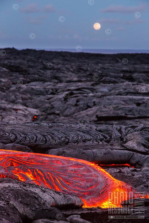 The full moon rises and lights the lava fields of Hawai'i Volcanoes National Park, Island of Hawai'i.